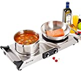 Duxtop Hot Plate Double Cast-Iron Electric Burner Cooktop with Adjustable Temperature Control, 1800W, Metal Housing, Indicator Light(2 year warranty)