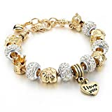 Gold Plated Snake Chain Glass Beads I Love You Charm Beaded Bracelets for Women (White)