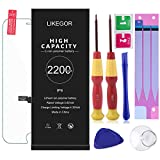 LIKEGOR Battery Model IP6, New 2200mAh High Capacity Replacement Battery with Complete Repair Tool Kits,Screen Protector,Adhesive Strips and Instruction-24 Month Warranty(for ip6)
