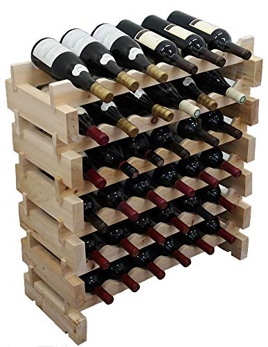 Stackable Wooden Wine Rack for Floor, 36 Bottles