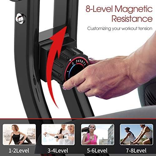 pooboo Folding Exercise Bike Indoor Cycling Bike Magnetic Upright Bike Stationary Bike with Dumbbells,Arm Resistance Bands,Pulse Sensor,LCD Monitor 4