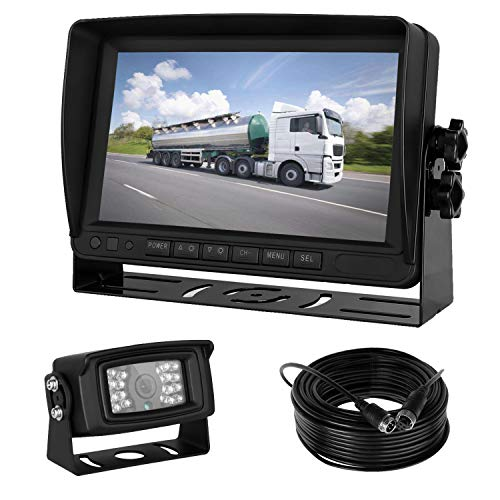 iStrong Backup Camera 7' HD Monitor kit 5th Wheel/RV/Truck/Trailer/Camper Rear View Camera Whole System Wire a Single Power Supply Waterproof 18 IR LED Night Vision Quick Install