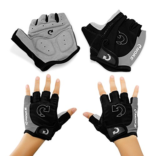 """GEARONIC TM New Fashion Cycling Bike Bicycle Motorcycle Shockproof Foam Padded Outdoor Sports Half Finger Short Gloves - Gray """"XL"""""""