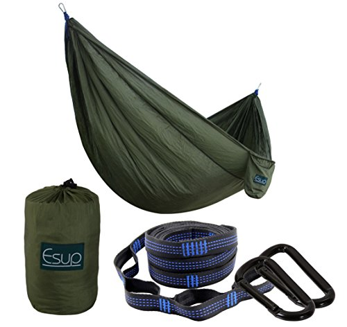 Esup XL Camping Hammock -Multifunctional Lightweight Nylon Portable Hammock, Best Parachute Hammock For Backpacking, Camping, Travel (Army Green, 118'(L) x 78'(W))