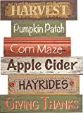 Harvest Pumpkin Patch Giving Thanks 16 x 11.5 inch Wood Wall Art Sign Plaque