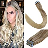 LaaVoo 16' Remy Tape in Human Hair Extension Balayage Color Light Golden Brown to Medium Blonde with Light Blonde Straight Skin Weft Tape in Hair 2.5g/pcs 15pcs+5pcs for free, 20pcs/50g Total