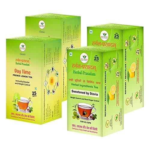 Herbal Prasadam Tea ( 2 Sweetened By Stevia + 2 Premix Lemon ) Pack of 4 for 100 Cups