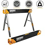 ToughBuilt Folding Sawhorse/Jobsite Table - Sturdy, Durable, Lightweight, Heavy-Duty, 100% High Grade Steel, 1100lb Capacity, Easy Carry Handle (TB-C500)