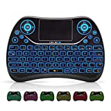 Mini Wireless Keyboard, Remote Keyboard with Multimedia Keys, 2.4GHZ USB Rechargable Android Remote for TV Box, Mini Keyboard for Smart TV,IPTV,PS4,PC