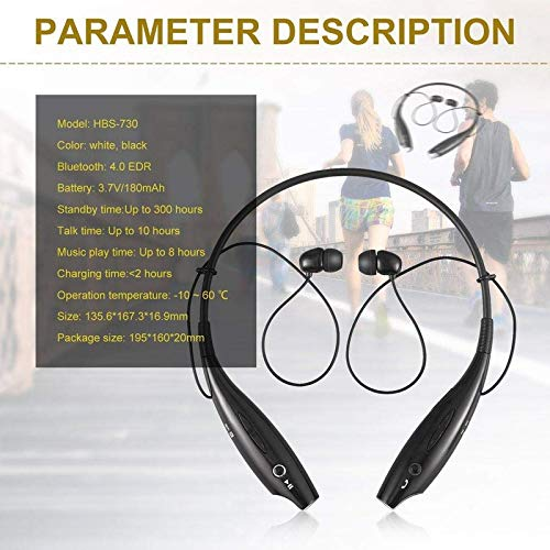 51sF8Wiz55L Auli HBS 730 Wireless Neckband Bluetooth Earphone Headset Earbud Portable Headphone Handsfree Sports Running Sweatproof Compatible Android Smartphone Noise Cancellation - (Black)