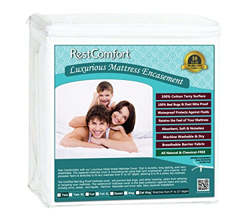 RestComfort Luxury Zippered Encasement Cotton Terry Top - Waterproof, Dust Mite Proof, Bed Bug Proof, Hypoallergenic Breathable Six Sided Mattress Protector (California King, Stretches 9'-15' Depth)