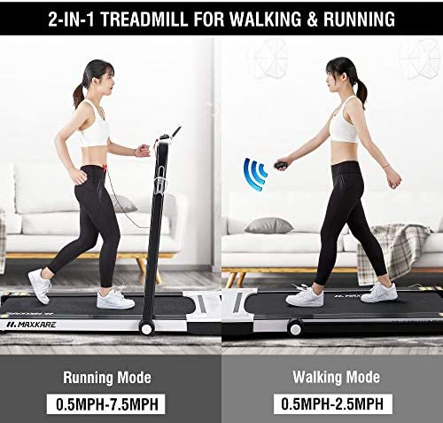 MaxKare Folding Treadmill 2 in 1 Running & Walking Treadmill Electric Treadmill Running Machine with 2.2HP Motor Remote Control & Large LCD Display for Home Office Use 2