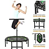 Xspec 44' Silent Fitness Mini Trampoline with Adjustable Handrail Bar, Green & Black - Indoor Rebounder for Adults - Best Cardio Jump Fitness Low Impact Workout Trainer, Covered Bungee Rope System