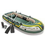 Intex Baby Boys Seahawk 3, 3-Person Inflatable Boat Set with Aluminum Oars and High Output Air Pump (Latest Model), Green, 116 x 54 x 17 inches