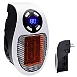 Ceramic Mini Heater Handy Wall-Outlet Space Heater Plug-in Portable Heater with Timer and LED Display for Office Home Dorm Room, 350-Watt ETL Listed for Safe Use