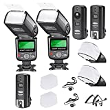 Neewer PRO i-TTL FlashDeluxe Kit for NIKON DSLR D7100 D7000 D5300 D5200 D5100 D5000 D3200 D3100 D3300 D90 D800 D700 D300 D300S D610, D600, D4 D3S D3X D3 D200 N90S F5 F6 F100 F90 F90X D4S D SLR Camera- Includes: 2 Neewer Auto-Focus Flashes + Wireless Trigger(1 Transmitter, 2 Receivers) +N1-Cord & N3-Cord Cables + 2 Hard & 2 Soft Flash Diffusers + 2 Lens Cap Holders