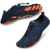 hiitave Men Water Shoes Barefoot Beach Aqua Socks Quick Dry for Outdoor Sport Hiking Swiming Surfing Navy 12 M US Men