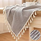 LUCKYHOUSEHOME Coffee and White Stripe Tassel Tablecloth Waterproof Rural Square Home Kitchen Dinning Tabletop Table Cover 55 x 55 Inch