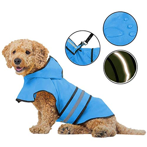 Raincoat for Dogs - Lightweight Dog Rain Jacket - Adjustable Dog Raincoats for Small Medium Large Dogs, Breathable Dog Rain Coats with Safe Reflective Stripes