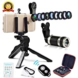 Cell Phone Camera Lens Kit by Ailuki with Professional Telephoto Lens,Wide Angle Lens+Macro Lens+Fisheye Lens, Selfie Remote Control+Tripod for iPhone Samsung Galaxy Most of Smartphone and iPad