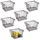mDesign Modern Stackable Metal Storage Organizer Bin Basket with Handles, Open Front for Kitchen Cabinets, Pantry, Closets, Bedrooms, Bathrooms - Large, 6 Pack - Bronze