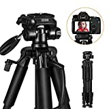 Camera Tripod - ESDDI 55'' /140cmTravel Lightweight Portable Tripod for Smart phone and Camera DSLR Canon Nikon Sony Samsung Olympus with Carrying Bag Maximum Load Capacity 11Lbs/5Kg and 1/4' Mounting