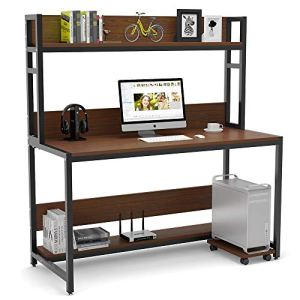Tribesigns 55' Large Computer Desk with Hutch, Modern Writing Desk with Bookshelf, PC Laptop Study Table Workstation for Home, Cherry Brown+ Black Legs