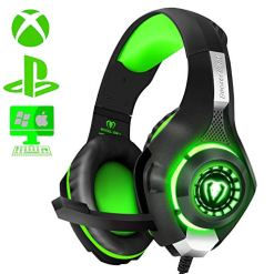 ShinePick Gaming Headset, Headset for Xbox One, PS4 Headset, 3.5mm Wire LED Light Noise Isolation Bass Stereo Headphone with Mic for Xbox One S/Nintendo Switch/Computer/Laptop (Green)