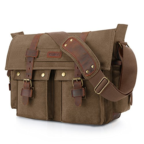 Kattee Unisex's Classic Military Canvas Shoulder Messenger Bag Leather Straps Fit 16' Laptop (Coffee)