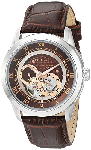 51sT p4bjLL Due to a recent redesign by Bulova, recently manufactured Bulova watches, including all watches sold and shipped by Amazon, will not feature the Bulova tuning fork logo on the watch face. Brown patterned and rose gold dial Leather strap,
