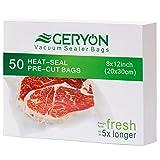 GERYON Vacuum Sealer Bags, Pre-Cut Food Sealer Bags Quart Size 8'x12' for Food Saver & Sous Vide Cooking, 50 Count