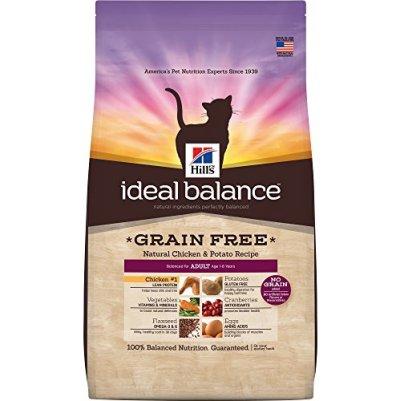 Hill's Ideal Balance Adult Grain Free Cat Food, Natural Chicken & Potato Recipe Dry Cat Food, 6 lb Bag