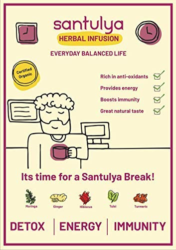 SANTULYA Organic Turmeric + Tulsi + Moringa Herbal Tea for Detox & Immunity (100 Tea Bags) 3