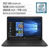 HP Pavilion 2019 Premium 17.3 inch HD Laptop Notebook Computer, 4-Core Intel Core i5-8265U 1.60 GHz, 16GB RAM, 256GB SSD + 1TB HDD, DVD, Wi-Fi, Bluetooth, Webcam, HDMI, Windows 10, Bonus Accessories
