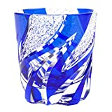 Crystal Double Old Fashioned Glass Edo Kiriko Cut Glass Homura Fire Flame - Blue [Japanese Crafts Sakura]
