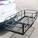 """Merax Hitch Cargo Carrier 59"""" X 24"""" X 15.4"""" Foldable Mount Basket Luggage Rack 360 lbs Capacity Fits 2"""" Receiver"""