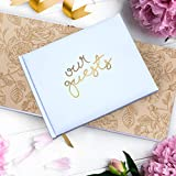 "Wedding Guest Book | Perfect Bridal Registry for Signature & Messages | Best Shower Gift | Wedding Day Memory Book | Hard Cover with Gold Foil, 64 Gold Gilded Pages & Ribbon Bookmark | 7"" x 9"""