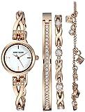 Anne Klein Women's  Swarovski Crystal Accented Rose Gold-Tone Watch and Bracelet Set