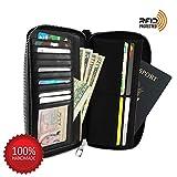Women RFID Blocked Wallet Clutch hold Phone 16 cards coin Zip-Around PU Leather Black, medium