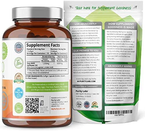 Purity Labs CLA 4,500MG Safflower Oil Number One Weight Loss Fat Burner Supplement 180 Softgels Non-GMO & Gluten Free Conjugated Linoleic Acid Pills Belly Fat Burner 4