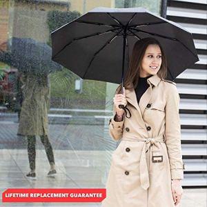 Repel Umbrella Windproof Double Vented Travel Umbrella with Teflon Coating (Black)