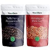 Viva Doria Tellicherry Peppercorn - Black Peppercorns (Whole Black Pepper) 12 oz and Himalayan Pink Salt (Coarse Grain) 2 lb for Grinder Refills