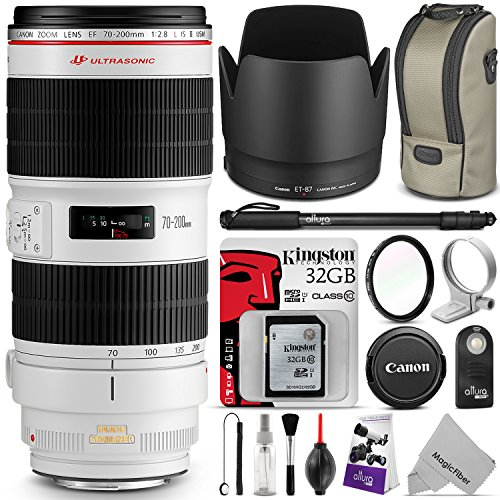 Canon EF 70-200mm f/2.8L IS II USM Telephoto Zoom Lens with Essential Bundle – Includes with DSLR Camera Monopod, UV Filter, Remote Control, Kingston 32GB SD Card, Camera Cleaning Set