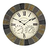 Outside in Stonegate Wall Clock and Thermometer in Dark Stone Effect 35cm / 14' Indoor Outdoor Weatherproof