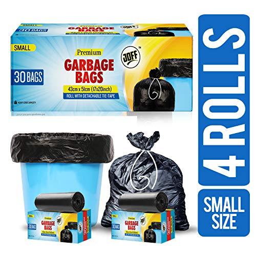 51sbBQtbi7L - JOFF Premium Garbage Bags - Small (43cmx51cm, 4 Rolls, 120 Bags, Black)