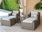 Solaura Patio Sofa Sets 5-Piece Outdoor Furniture Set Gray Wicker Lounge Chair & Ottoman with Neutral Beige Olefin Fiber Cushions & Glass Coffee Side Table