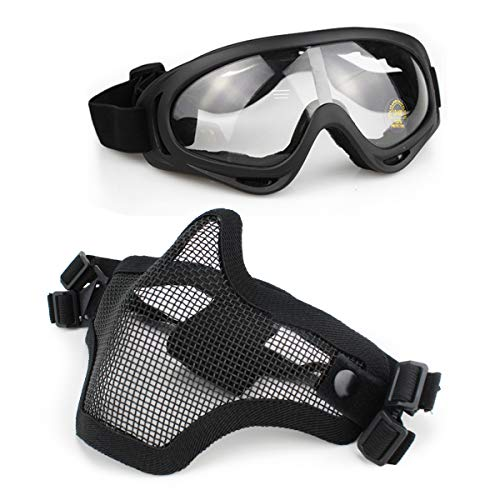 Aoutacc Airsoft Mask and Goggles Set, Half Face Full Steel Mesh Mask and Goggles for CS/Hunting/Paintball/Shooting (Black)