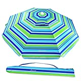 MOVTOTOP Beach Umbrella, 6.5ft Sand Anchor with Tilt Aluminum Pole, Portable UV 50+ Protection Beach Umbrella with Carry Bag for Outdoor Patio, Blue/Green