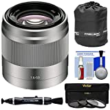 Sony Alpha E-Mount 50mm f/1.8 OSS Lens (Silver) with 3 UV/CPL/ND8 Filters + Pouch + Kit