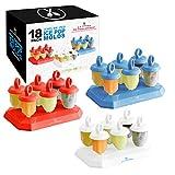 U.S. Kitchen Supply Jumbo Set of 18 Jewel Shaped Ice Pop Molds - Sets of 6 Red, 6 White & 6 Blue